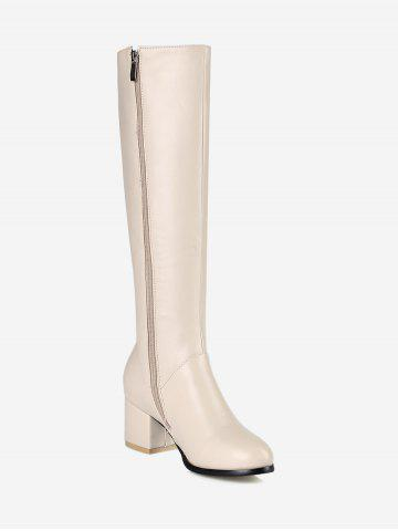 Plus Size Block Heel Solid Knee High Boots