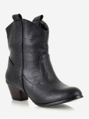 Plus Size Mid Heel PU Leather Short Boots