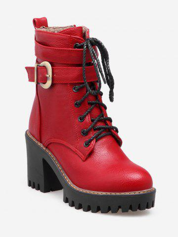 Plus Size Lacing Buckle Strap Platform Ankle Boots
