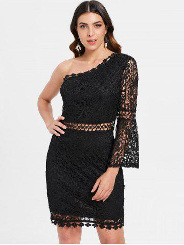 Flare Sleeve One Shoulder Lace Dress