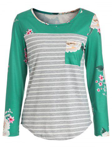 Pocket Floral Stripes Long Sleeve Top