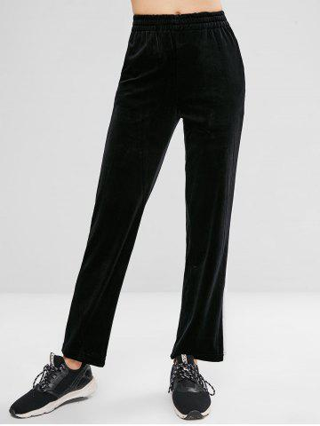 High Rise Velvet Contrast Trim Wide Leg Pants