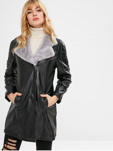 Fuzz Lined Faux Leather Long Coat