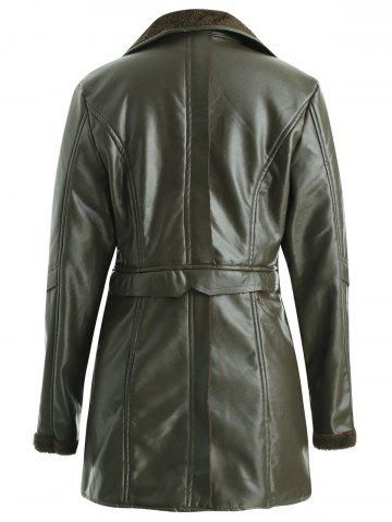Faux Shearling Lined PU Leather Coat