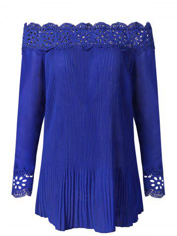 Long Sleeve Lace Insert Pleated Blouse