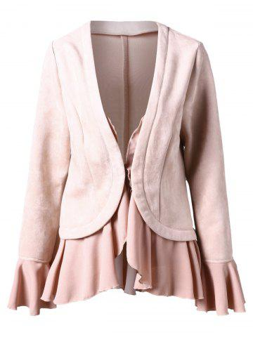 Ruffled Trim Faux Suede Jacket - LIGHT PINK - M