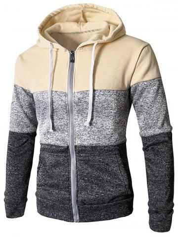 Zip Up Casual Color Block Pockets Hoodie