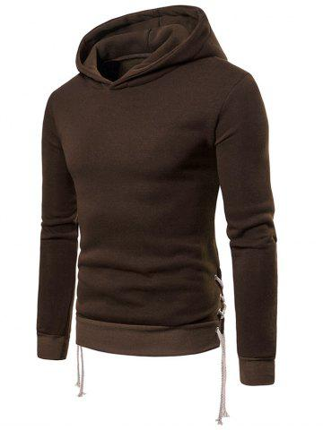 Solid Color Drawstring Bottom Hoodie