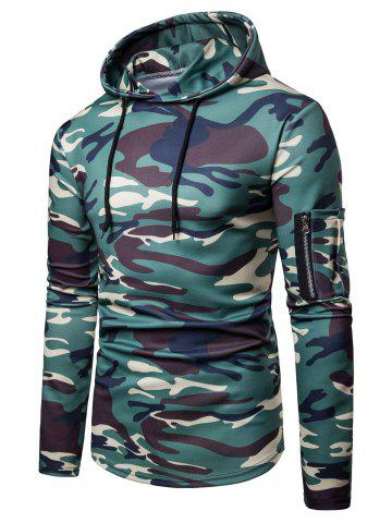 Camo Print Casual Pullover Hoodie