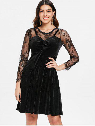 Lace Velvet Layered Look Skater Dress