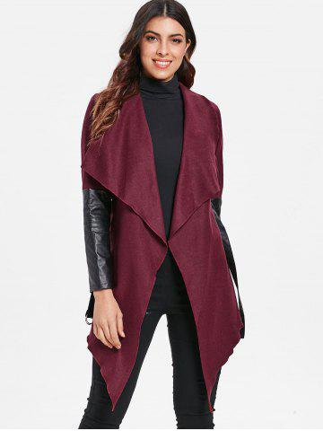 PU Leather Panel Open Front Cardigan