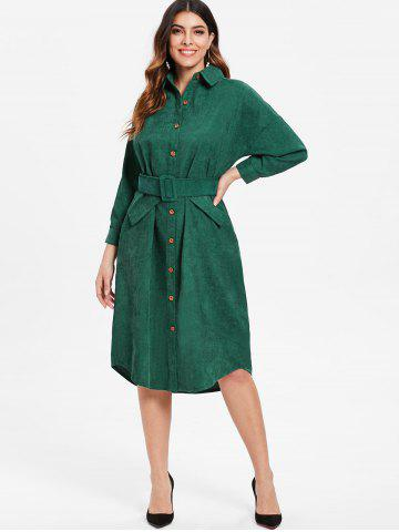 Cuff Sleeve Belted Corduroy Dress