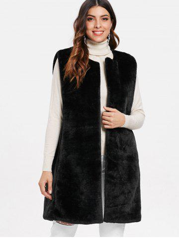 Knee Length Faux Fur Sleeveless Coat