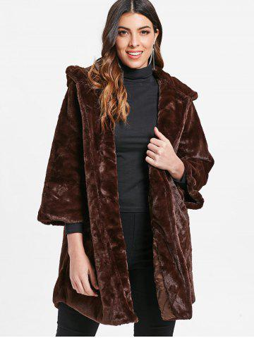 Drop Shoulder Hooded Faux Fur Coat