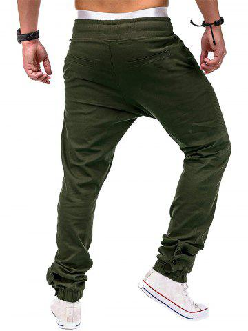 Faux Back Pocket Zipper Decorated Jogger Pants, Army green