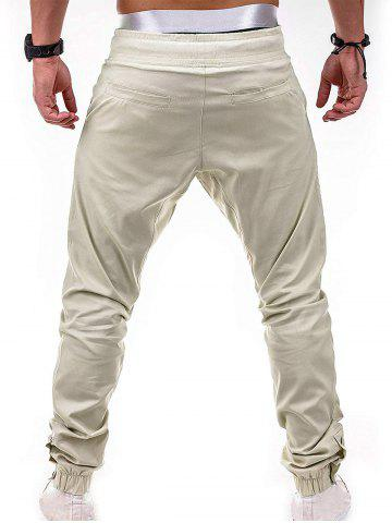 Faux Back Pocket Zipper Decorated Jogger Pants, Light khaki