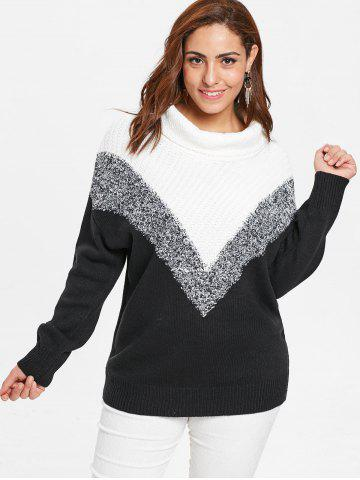 Plus Size Geometric Turtleneck Sweater