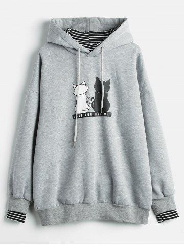 Plus Size Graphic Striped Panel Hoodie