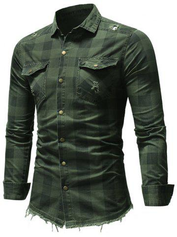 Checked Print Button Up Casual Shirt