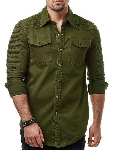 Solid Pleated Button Up Shirt