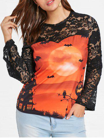 Lace Sleeve Plus Size Printed Halloween T-shirt