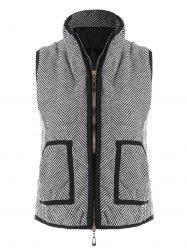 Zip Up Herringbone Vest with Pockets -