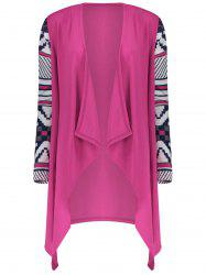 Women's Fashionable Loose Long Sleeve Print Asymmetrical Cardigan -