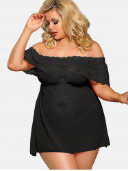 Plus Size Off The Shoulder Dress Lingerie Set -