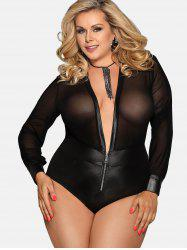 Plunge Sheer Faux Leather Plus Size Teddy -