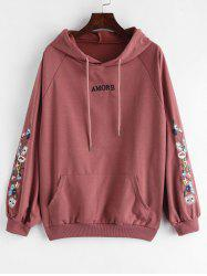 Floral Letter Patched Drawstring Hoodie -