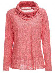 Stylish Cowl Neck Long Sleeve Spliced Women's Sweatshirt -