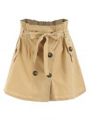 Button Front Mini Belted Skirt -