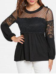 Plus Size Lace Panel Lantern Sleeve T-shirt -