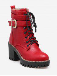 Plus Size Lacing Buckle Strap Platform Ankle Boots -
