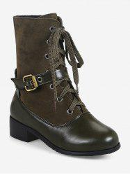 Plus Size Buckle Mid Heel Mid Calf Boots -
