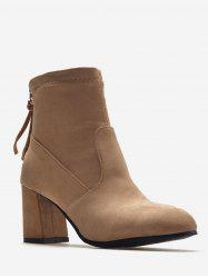 Plus Size Back Zip Chunky Heel Ankle Boots -