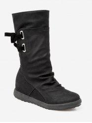 Plus Size Ruched Flat Heel Mid Calf Boots -