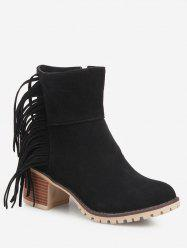 Fringe Chunky Heel Suede Short Boots -