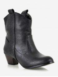 Plus Size Mid Heel PU Leather Short Boots -