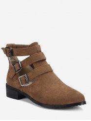 Plus Size Cut Out Buckle Strap Suede Boots -