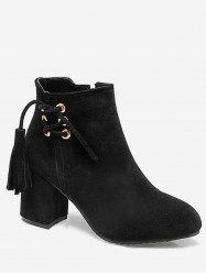 Plus Size Tassels Pointed Toe Suede Boots -