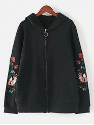 Plus Size Embroidered Zipper Jacket -