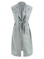 Lapel Collar Long Sleeveless Blazer -
