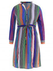 Drawstring Stripe Henley Dress -