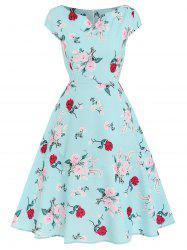 Floral Print A-line Swing Dress -