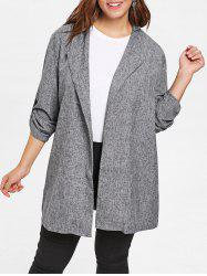 Turn Down Collar Plus Size Wide Waisted Coat -