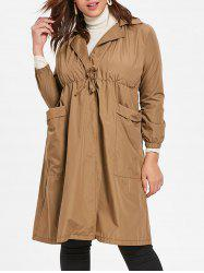 Front Pockets Plus Size Elastic Waist Coat -