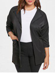 Plus Size Front Pockets Turn Down Collar Coat -