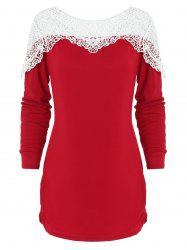 Lace Panels Side Cinched Tunic Top -