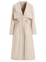Layered Drawstring Longline Trench Coat -